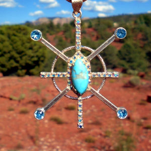 Aquamarine Blue Ray and turquoise center StarResonator